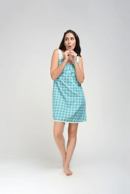 Cotton Satin Blue Nightdress