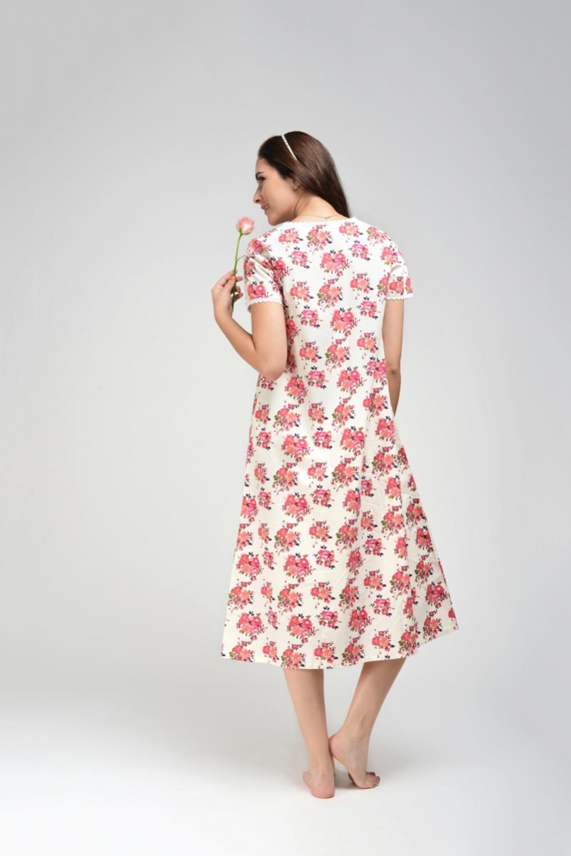 Pink Floral Long Nightgown