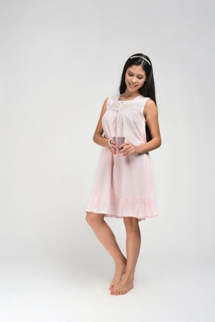Pink Embroidered Nightdress