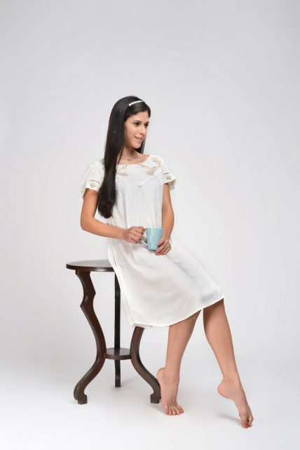 White Rayon Nightdress