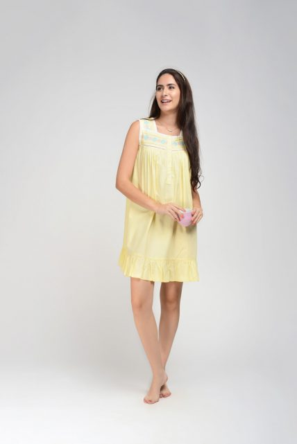 Yellow Embroidered Nightdress