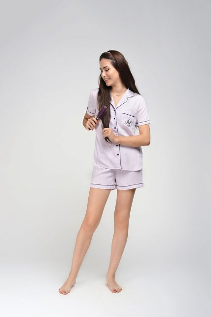 Lilac Rayon Shorty Set