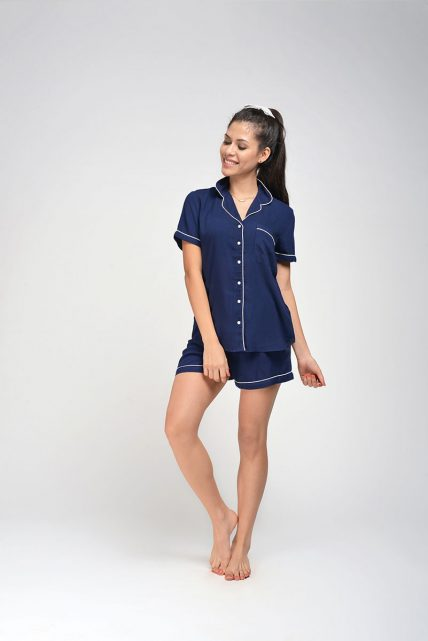 Navy Rayon Shorty Set
