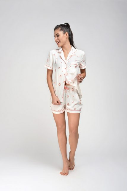 Rayon Floral Print Shorty Set