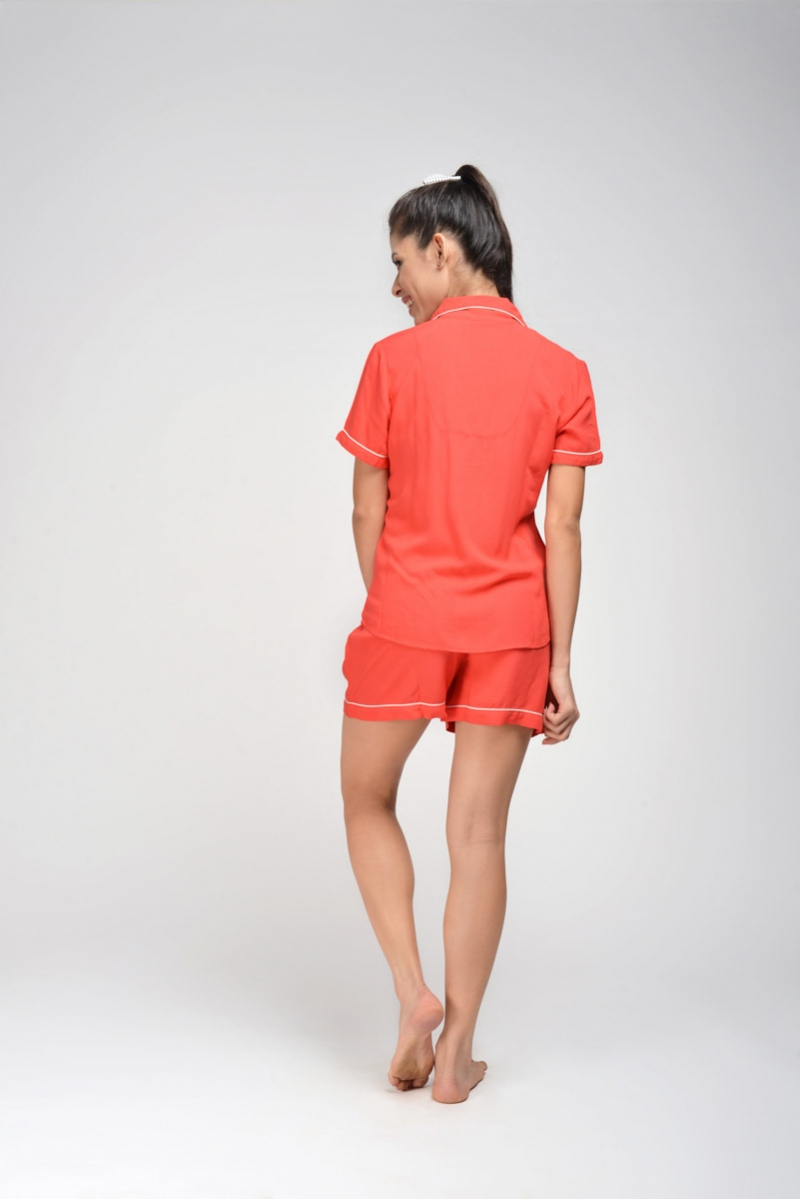 Rebellion Red Rayon Shorty Set